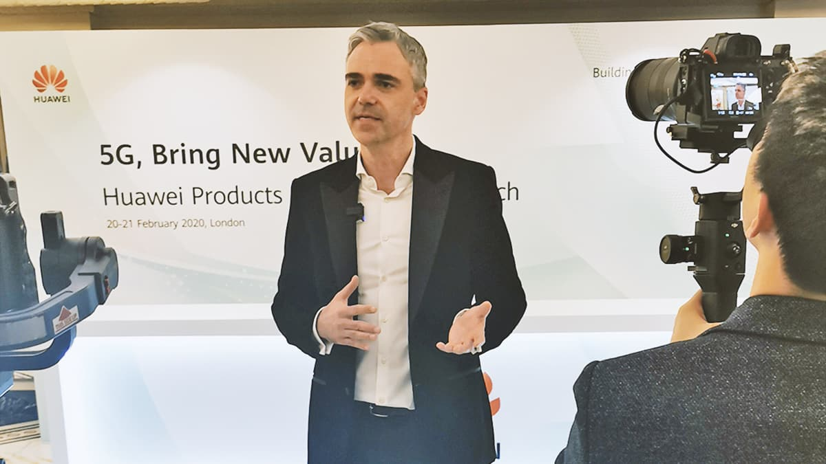 Mike Flache shares insights during a TV and media interview at the 5G bring New Value event, London